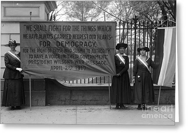 Protesters Greeting Cards - White House: Suffragettes Greeting Card by Granger