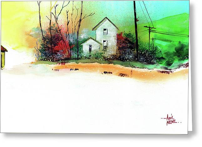 White Houses Greeting Card by Anil Nene