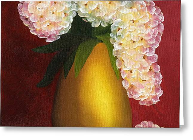 White Hydrangeas in a Golden Vase Greeting Card by Maria Williams
