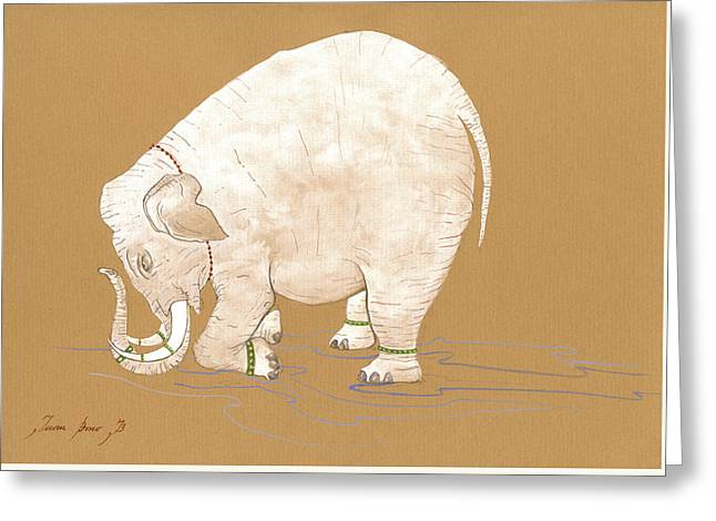 White Indian Elephant Greeting Card by Juan Bosco