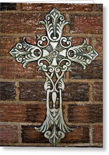 Metalwork Greeting Cards - White Iron Cross 1 Greeting Card by Angelina Vick