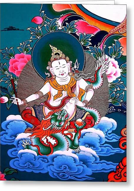 Tibetan Buddhism Greeting Cards - White Jambhala 4 Greeting Card by Lanjee Chee