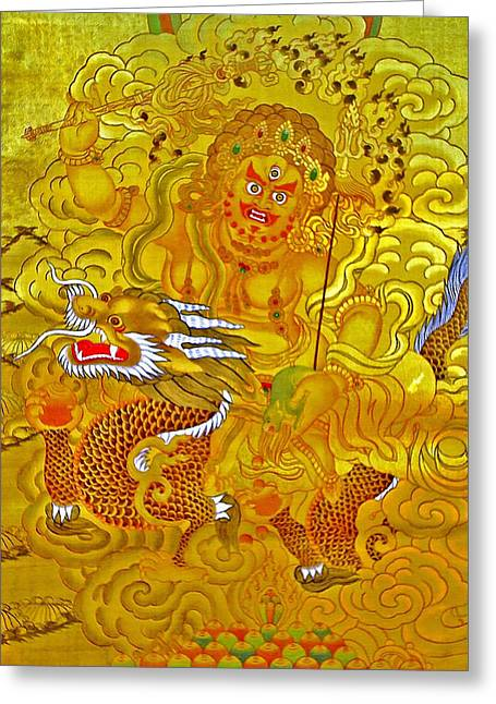 Recently Sold -  - Tibetan Buddhism Greeting Cards - White Jambhala 5 Greeting Card by Lanjee Chee