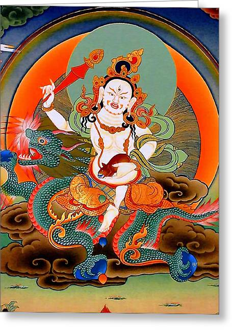 Hindu Goddess Greeting Cards - White Jambhala 7 Greeting Card by Lanjee Chee
