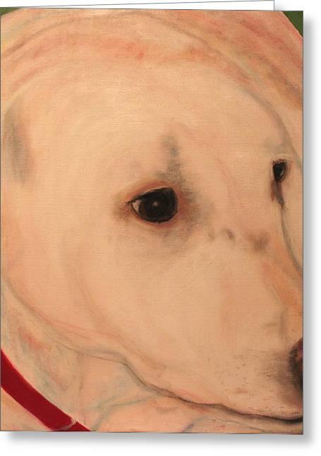 Working Dog Mixed Media Greeting Cards - White Lab - Sugar Greeting Card by Laura  Grisham
