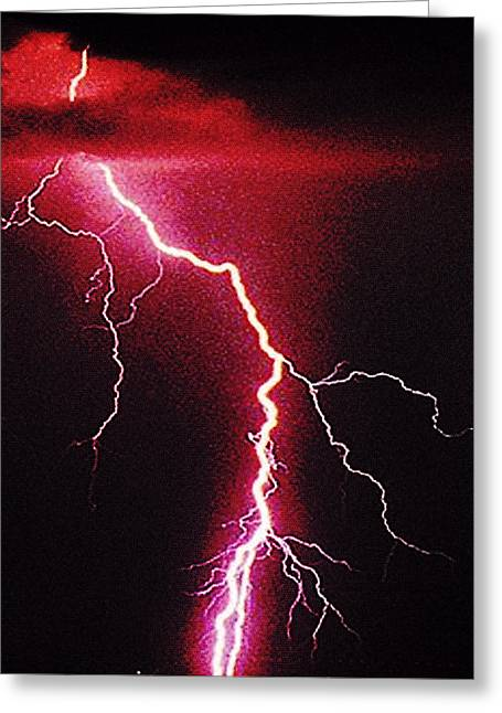 Thunderstorm Digital Greeting Cards - White Lightning Greeting Card by Vicky Brago-Mitchell