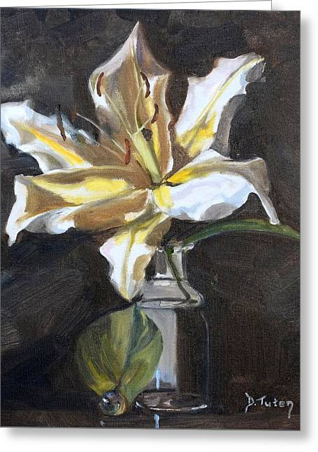 Table Greeting Cards - White Lily Greeting Card by Donna Tuten