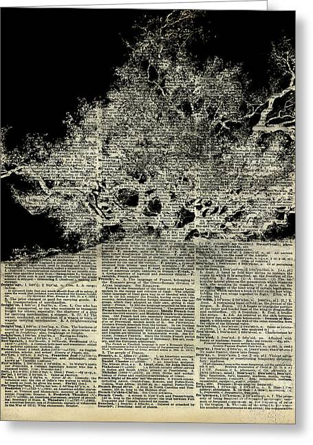 Surreal Landscape Greeting Cards - White Lonley Tree Dictionary Art Greeting Card by Jacob Kuch