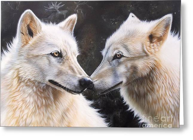 Wolf Song Studio Greeting Cards - White Magic Greeting Card by Sandi Baker