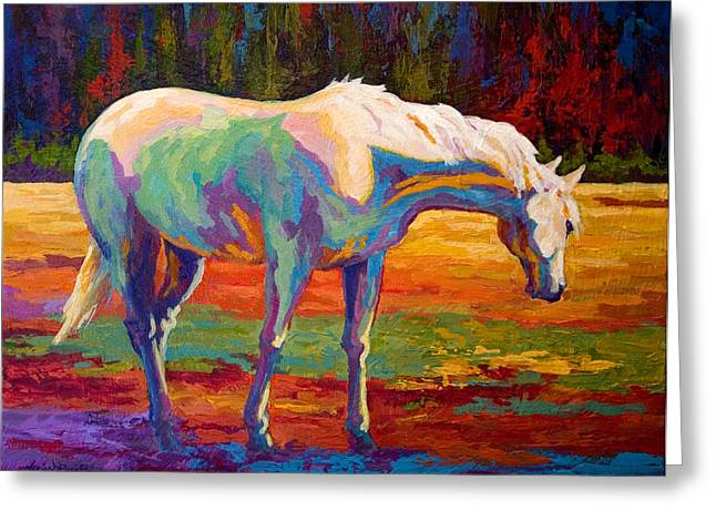 Equine Greeting Cards - White Mare II Greeting Card by Marion Rose