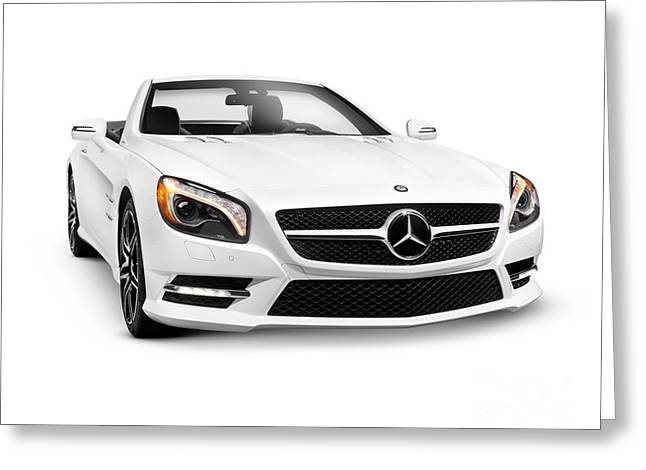 Cut-outs Greeting Cards - White Mercedes-Benz SL550 Roadster convertible luxury car Greeting Card by Oleksiy Maksymenko