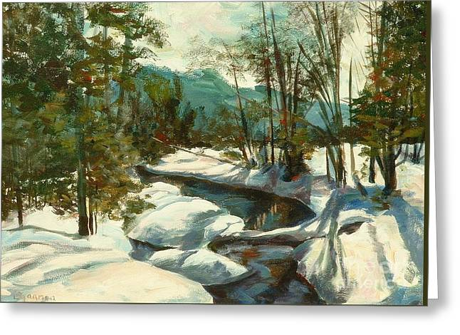 White Mountain Winter Creek Greeting Card by Claire Gagnon