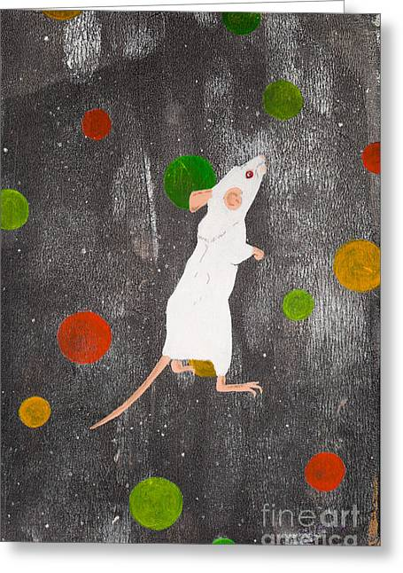 White Paintings Greeting Cards - White mouse Greeting Card by Stefanie Forck