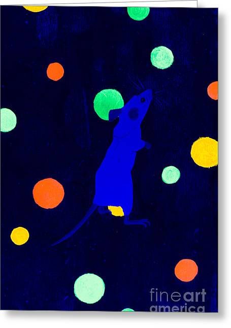White Paintings Greeting Cards - White mouse uv Greeting Card by Stefanie Forck