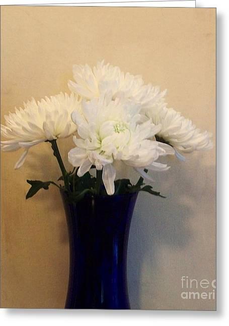 Flower Still Life Prints Digital Art Greeting Cards - White Mums For Mom Greeting Card by Marsha Heiken