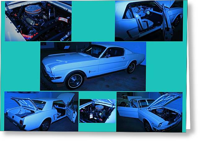 1960 Greeting Cards - White Mustang Collage Greeting Card by Mark Yacovetta