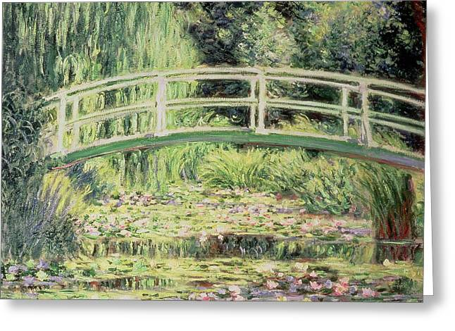 White Waterlily Greeting Cards - White Nenuphars Greeting Card by Claude Monet