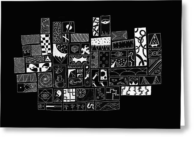 White On Black Abstract Art Greeting Card by Edward Fielding