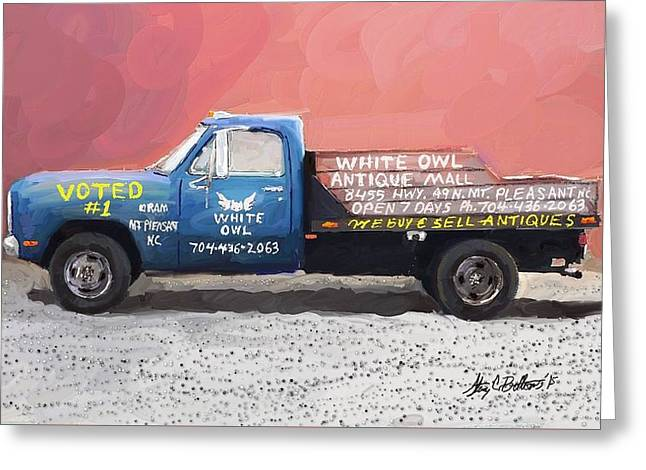 Old Roadway Greeting Cards - White Owl Truck Greeting Card by Stacy C Bottoms