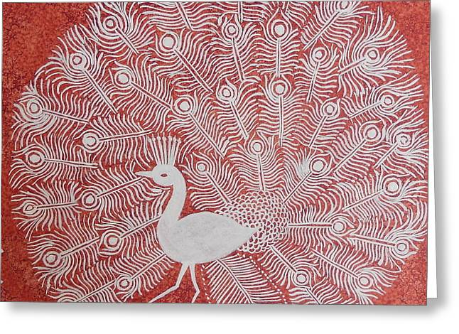 Flour Paintings Greeting Cards - White Peacock Dance- Original Warli Painting Greeting Card by Aboli Salunkhe