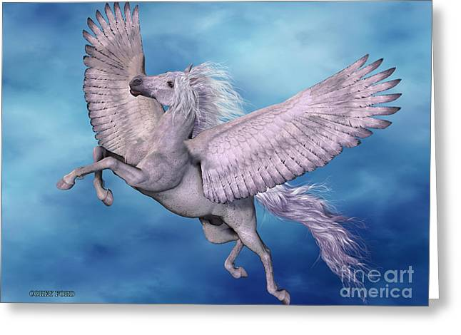 Fantasy Creatures Greeting Cards - White Pegasus Greeting Card by Corey Ford