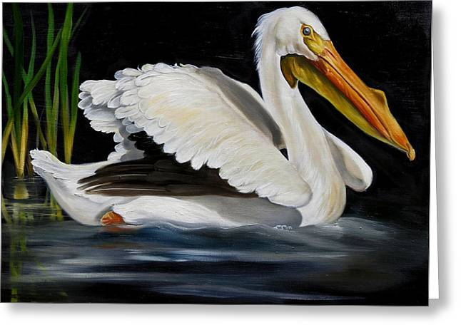 White Paintings Greeting Cards - White Pelican Glide Greeting Card by Phyllis Beiser