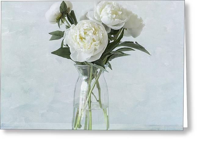 White Peony Bouquet Greeting Card by Kim Hojnacki