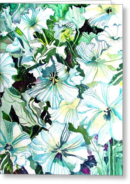 White Petunias Greeting Card by Mindy Newman