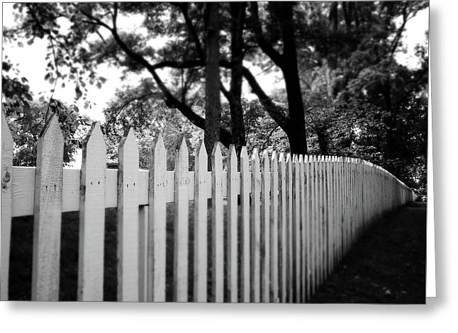 White Picket Fence- By Linda Woods Greeting Card by Linda Woods