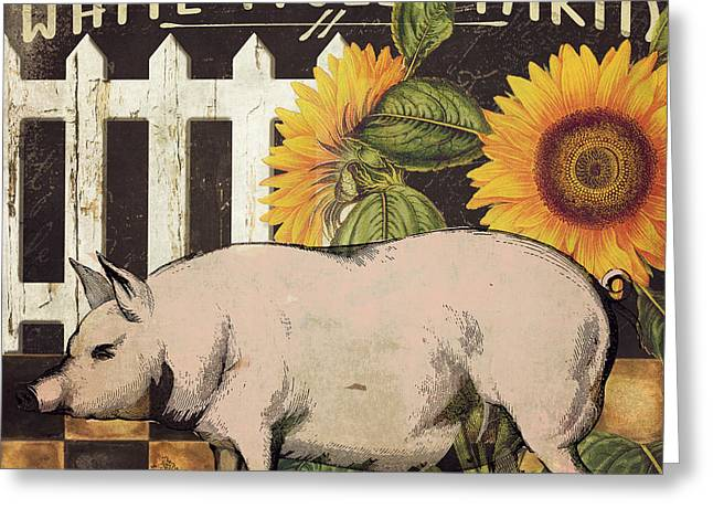 White Picket Fence Greeting Cards - White Piglet Farms Greeting Card by Mindy Sommers
