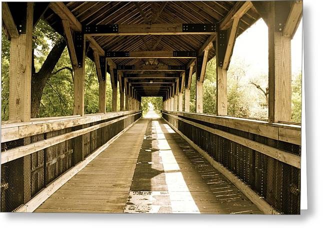 Covered Bridge Greeting Cards - White Pine Trail Covered Bridge Greeting Card by Devon Batzloff