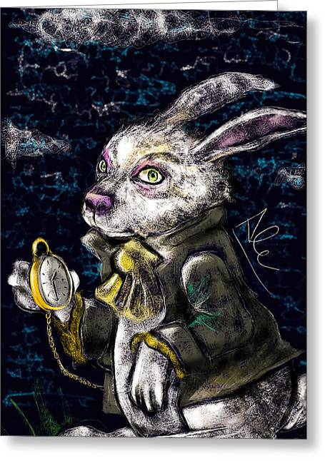 Imagination Drawings Greeting Cards - White Rabbit Greeting Card by Alessandro Della Pietra