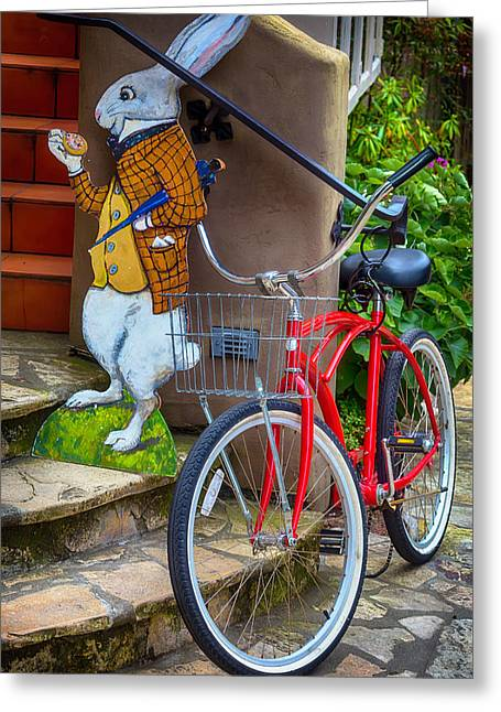 White Rabbit And Bike Greeting Card by Garry Gay