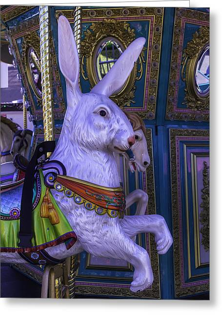 Amusements Greeting Cards - White Rabbit Carrousel Ride Greeting Card by Garry Gay