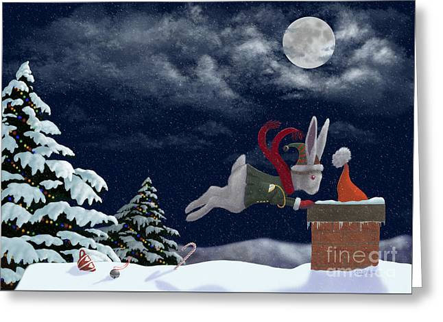 Christmas Eve Greeting Cards - White Rabbit Christmas Greeting Card by Audra Lemke