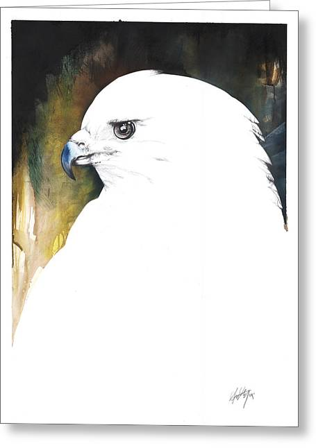 Tree Roots Mixed Media Greeting Cards - White Red-Tail Greeting Card by Anthony Burks Sr
