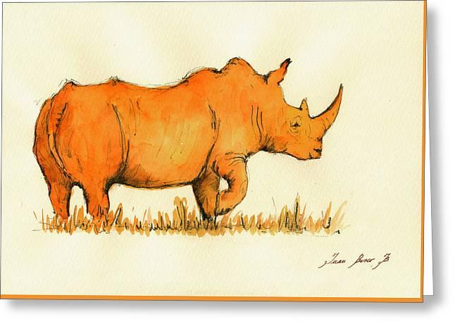Rhinoceros Greeting Cards - White Rhino Orange Greeting Card by Juan  Bosco