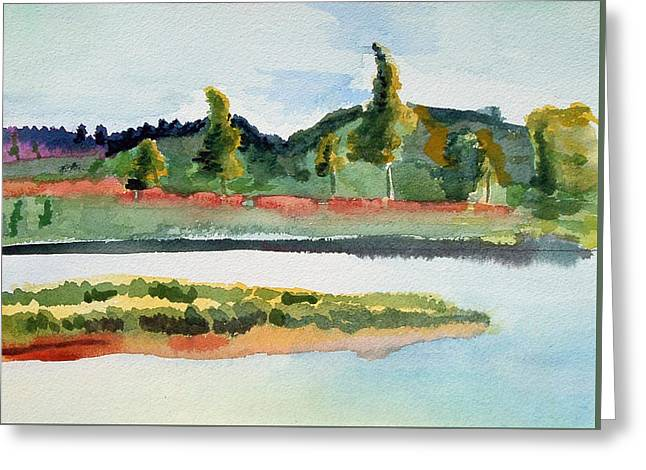 White Paintings Greeting Cards - White River at Royalton after Edward Hopper Greeting Card by Paul Thompson