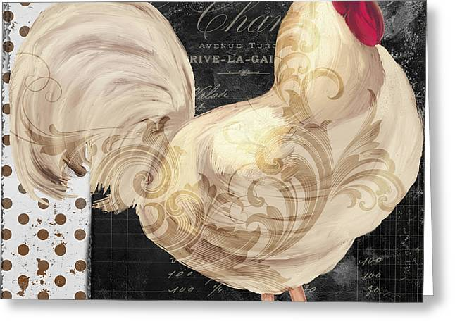 White Chicken Greeting Cards - White Rooster Cafe I Greeting Card by Mindy Sommers