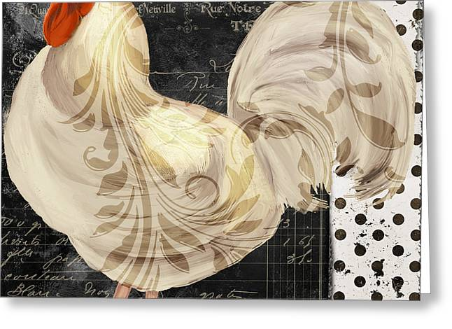 White Rooster Cafe II Greeting Card by Mindy Sommers