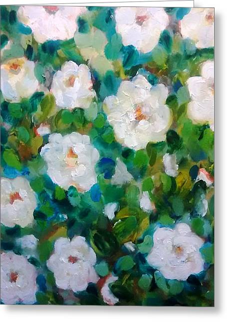 White Rose Bush Greeting Card by Patricia Taylor