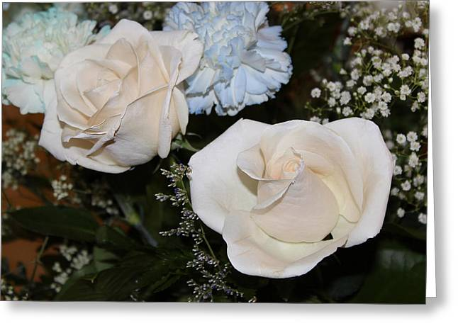 Babys Breaths Greeting Cards - White Roses for Helen I Greeting Card by Suzanne Gaff