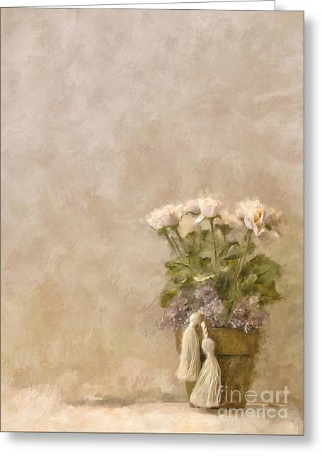 White Roses In Old Clay Pot Greeting Card by Lois Bryan