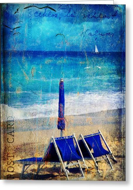 Sea View Greeting Cards - White sail Greeting Card by Silvia Ganora