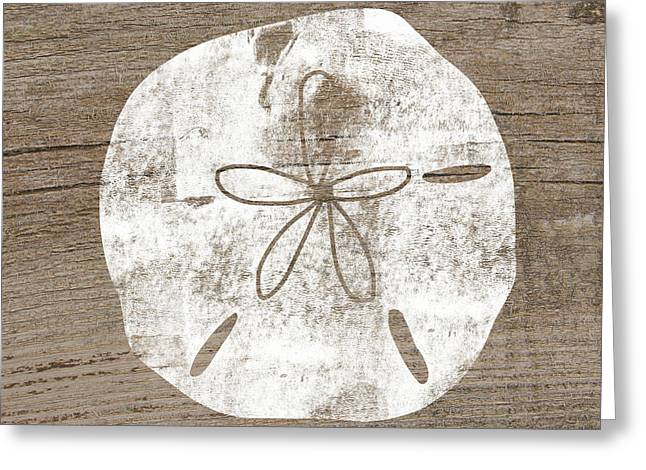 White Sand Dollar- Art By Linda Woods Greeting Card by Linda Woods