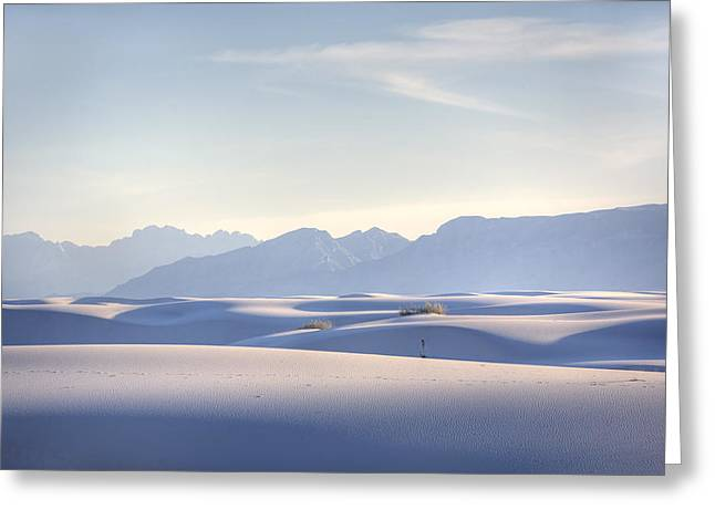 Desert Greeting Cards - White Sands Blue Sky Greeting Card by Peter Tellone