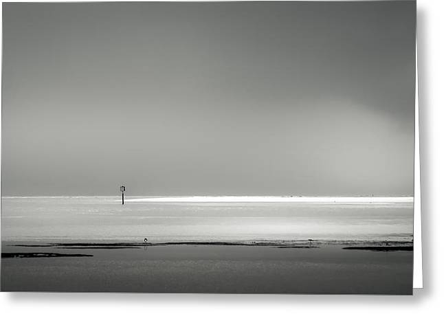 White Sandy Shore- B/w Greeting Card by Marvin Spates