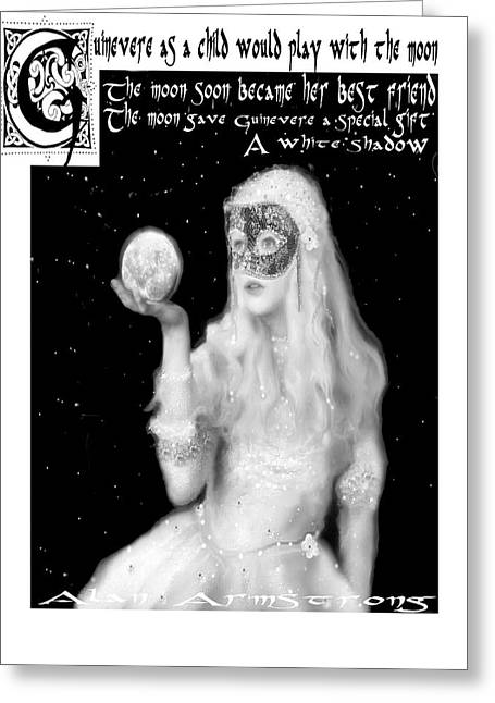 Guinevere Digital Greeting Cards - White Shadow  Greeting Card by Alan Armstrong