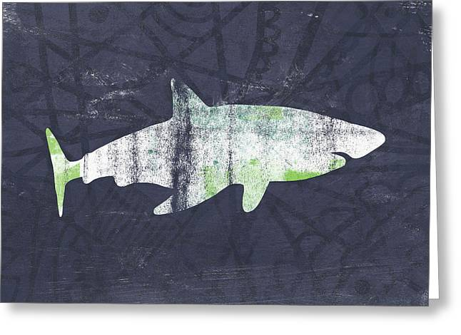 White Shark- Art By Linda Woods Greeting Card by Linda Woods