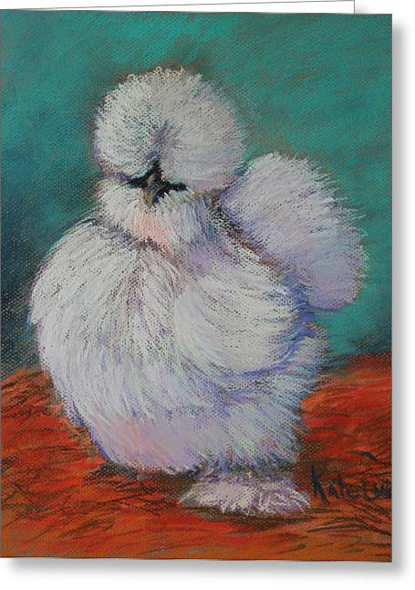 Exotic Pastels Greeting Cards - White Silkie Pullet Greeting Card by Kate Owens